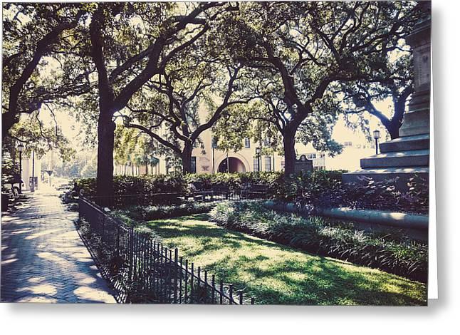 Savannah Parks Gardens Greeting Cards - Wright Square Savannah Greeting Card by Cheryl LaPrade