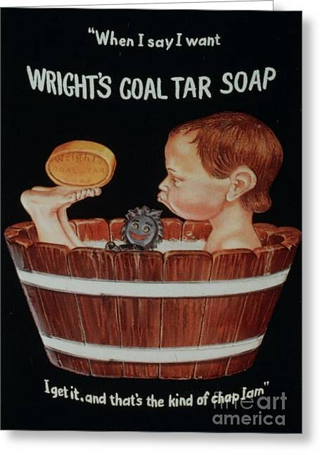 Twentieth Century Greeting Cards - WrightÕs Coal Tar 1920s Uk Baths Greeting Card by The Advertising Archives
