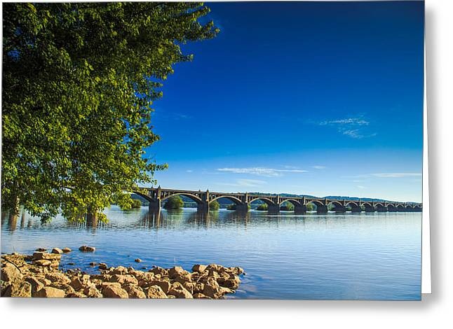 Brdige Greeting Cards - Wrights-Ferrry Bridge Greeting Card by Troy  Snider