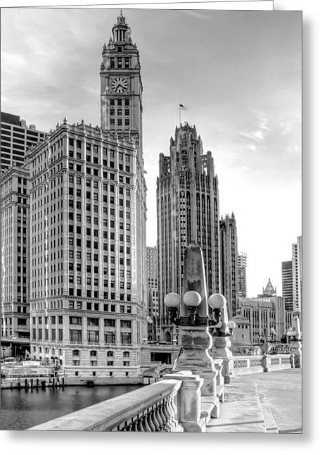 Clock Photographs Greeting Cards - Wrigley and Tribune Greeting Card by Scott Norris