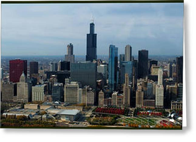 Central Il Greeting Cards - Wrigley and US Cellular Fields Chicago BaseBall Parks 3 Panel Composite 01 Greeting Card by Thomas Woolworth