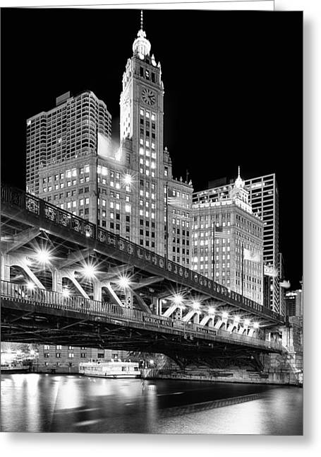 Nightscape Greeting Cards - Wrigley Building at Night in Black and White Greeting Card by Sebastian Musial