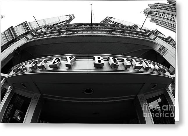 Historic Architecture Greeting Cards - Wrigley Building Fisheye Greeting Card by John Rizzuto