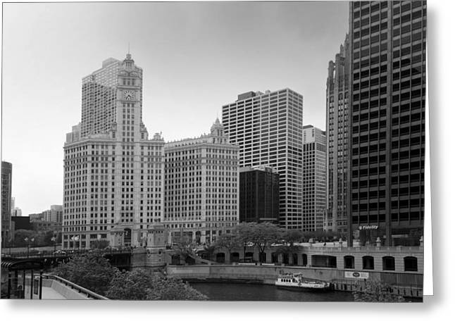 City Art Greeting Cards - Wrigley Building In Black And White Greeting Card by Thomas Woolworth