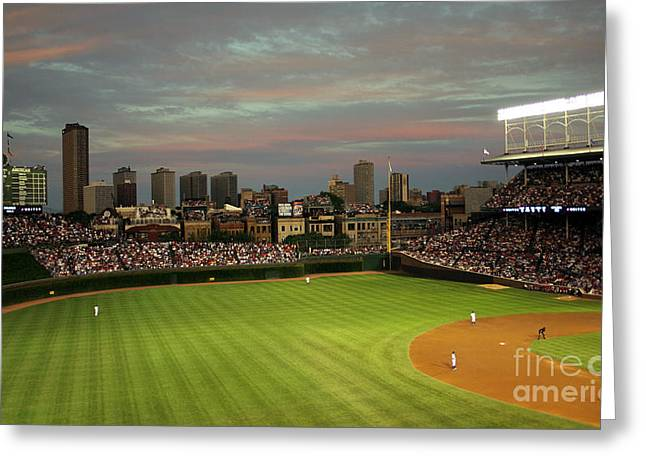 Ball Games Greeting Cards - Wrigley Field at Dusk Greeting Card by John Gaffen