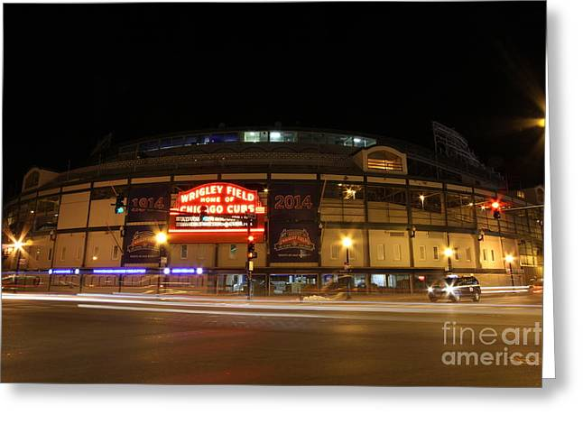 Wrigley Field At Night Greeting Cards - Wrigley field at night Greeting Card by Michael Paskvan