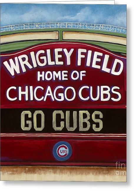 Baseball Print Paintings Greeting Cards - Wrigley Field Greeting Card by Carla Bank