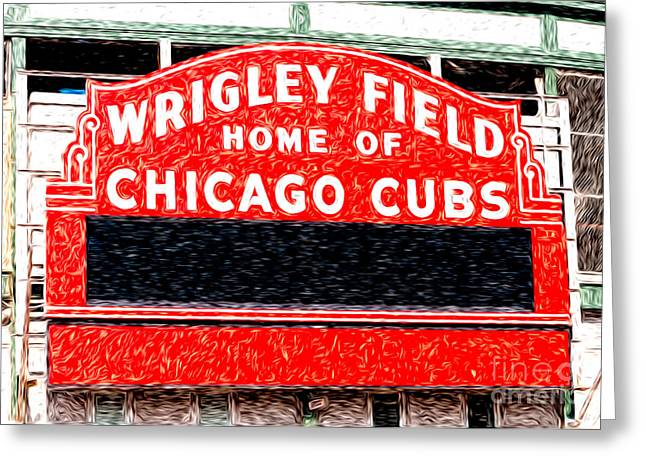 Chicago Cubs Stadium Greeting Cards - Wrigley Field Chicago Cubs Sign Digital Painting Greeting Card by Paul Velgos