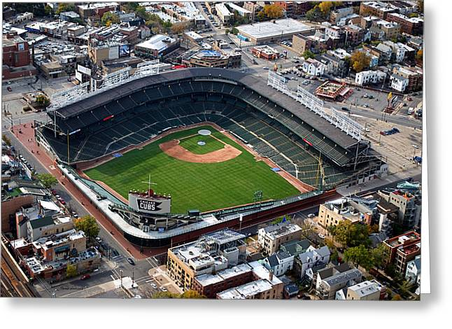 Central Il Greeting Cards - Wrigley Field Chicago Sports 02 Greeting Card by Thomas Woolworth