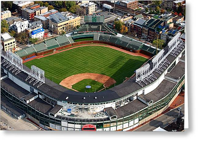 Baseball Stadiums Greeting Cards - Wrigley Field Chicago Sports 03 Greeting Card by Thomas Woolworth