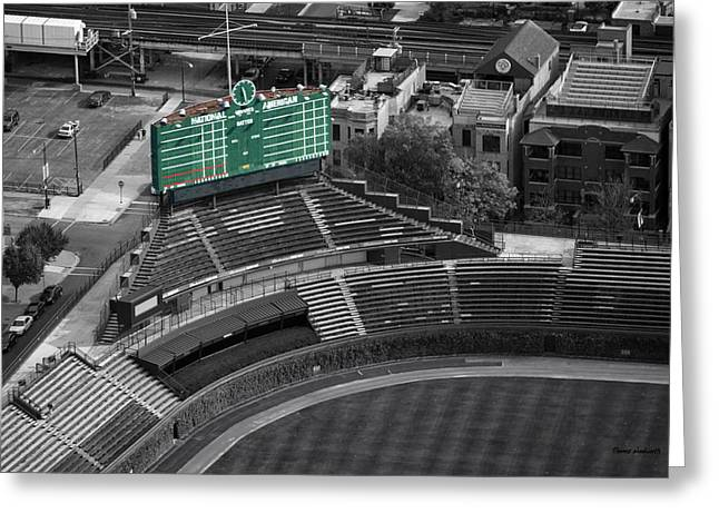 Division Greeting Cards - Wrigley Field Chicago Sports 04 Selective Coloring Greeting Card by Thomas Woolworth