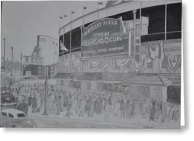 World Series Drawings Greeting Cards - Wrigley Field Greeting Card by Dave Smith