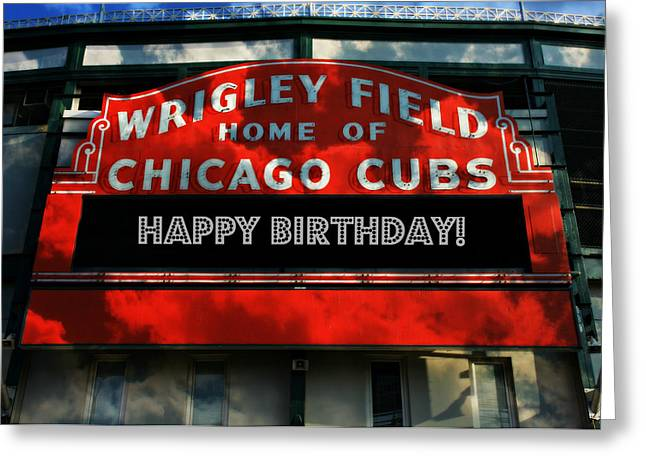 Ron Woods Greeting Cards - Wrigley Field -- Happy Birthday Greeting Card by Stephen Stookey