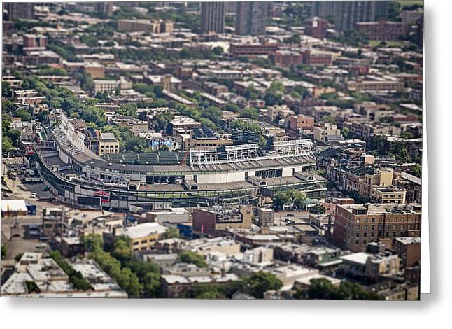 Sports Fields Greeting Cards - Wrigley Field - Home of the Chicago Cubs Greeting Card by Adam Romanowicz