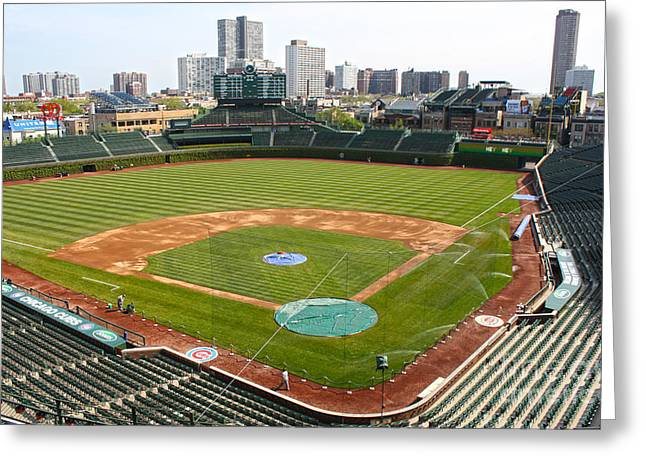 Friendly Confines Greeting Cards - 100 Years Old -- Wrigley Field in Green Greeting Card by David Bearden