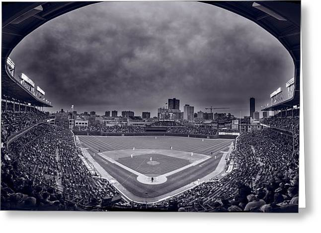 Baseball Stadiums Greeting Cards - Wrigley Field Night Game Chicago BW Greeting Card by Steve Gadomski