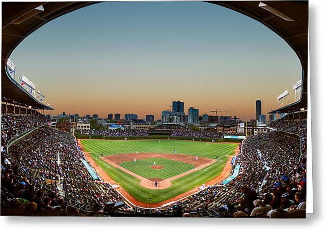 Sports Fields Greeting Cards - Wrigley Field Night Game Chicago Greeting Card by Steve Gadomski