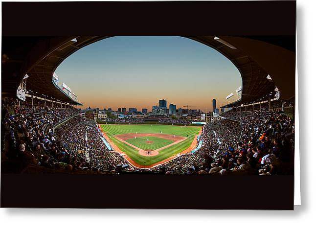 Wrigley Field Greeting Cards - Wrigley Field Night Game Chicago Greeting Card by Steve Gadomski