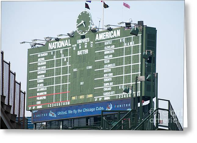 Editorial Photographs Greeting Cards - Wrigley Field Scoreboard Sign Greeting Card by Paul Velgos