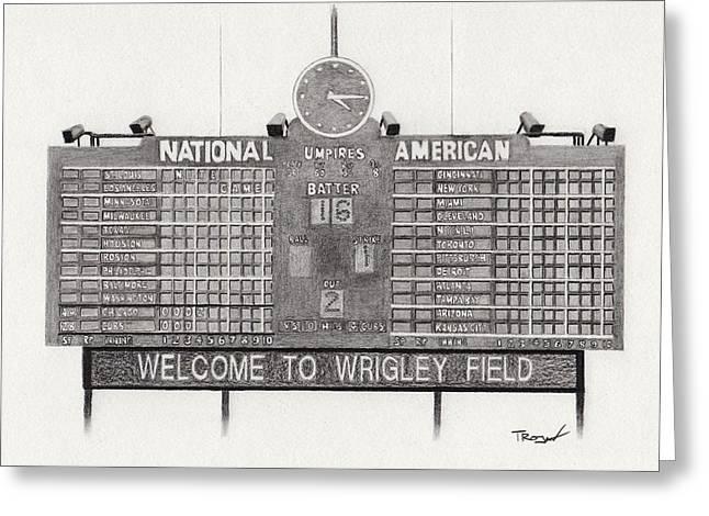 Baseball Fields Drawings Greeting Cards - Wrigley Field Scoreboard Greeting Card by Tim Trojan