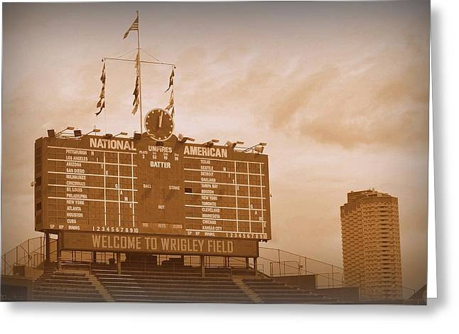 Recently Sold -  - Baseball Art Greeting Cards - Wrigley Field Scoreboard Greeting Card by Toni Abdnour