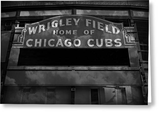 Holy Cow Greeting Cards - Wrigley Field Sign -- BW Greeting Card by Stephen Stookey