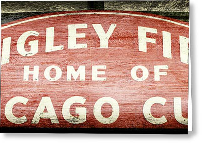 Baseball Stadiums Greeting Cards - Wrigley Field Sign - No.2 Greeting Card by Stephen Stookey