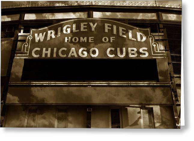 Baseball Stadiums Greeting Cards - Wrigley Field Sign - Vintage Greeting Card by Stephen Stookey