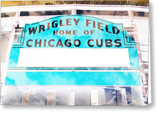 Ron Woods Greeting Cards - Wrigley Field Sign - X-Ray Greeting Card by Stephen Stookey