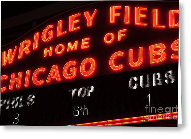 Chicago Cubs Stadium Greeting Cards - Wrigley Field Sign at Night Greeting Card by Paul Velgos
