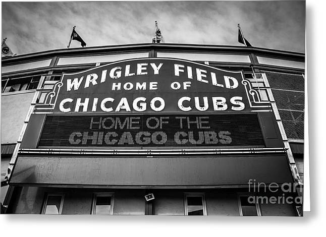 Wrigley Field Sign in Black and White Greeting Card by Paul Velgos
