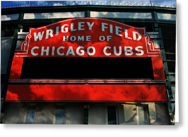 Holy Cow Greeting Cards - Wrigley Field Sign -- No.1 Greeting Card by Stephen Stookey