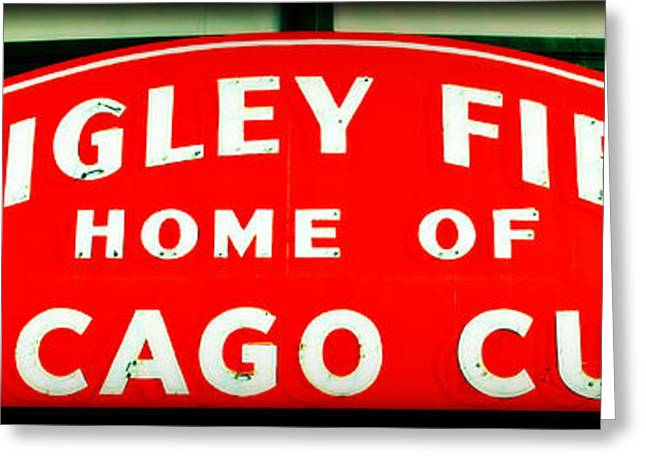 Holy Cow Greeting Cards - Wrigley Field Sign Greeting Card by Stephen Stookey