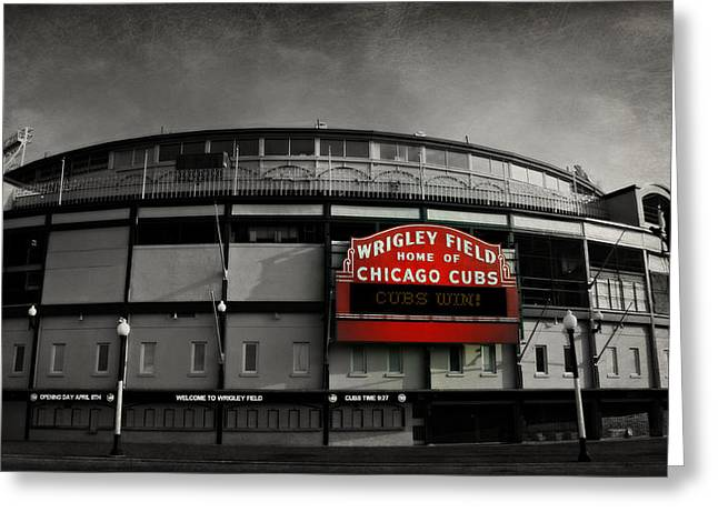 Baseball Stadiums Greeting Cards - Wrigley Field Greeting Card by Stephen Stookey
