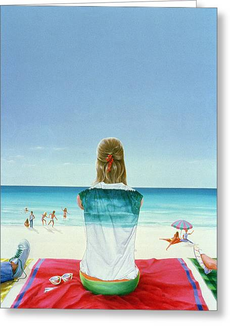 Beach Towel Greeting Cards - Wrigley Gum Girl Ii Greeting Card by Lincoln Seligman