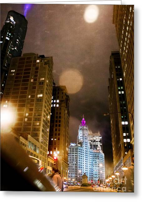 Magnificent Mile Digital Art Greeting Cards - Wrigley On The Way Greeting Card by Jeanette Brown