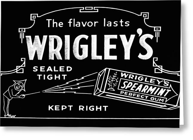 Spearmint Greeting Cards - Wrigleys Spearmint Gum Greeting Card by Digital Reproductions