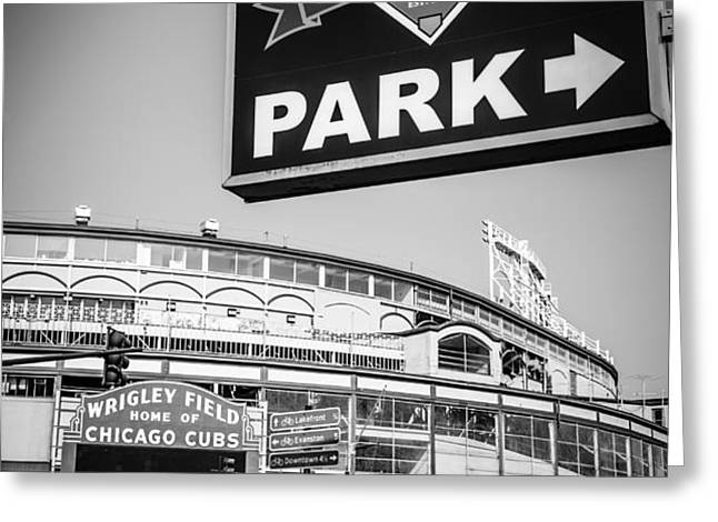 Wrigleyville Sign and Wrigley Field in Black and White Greeting Card by Paul Velgos