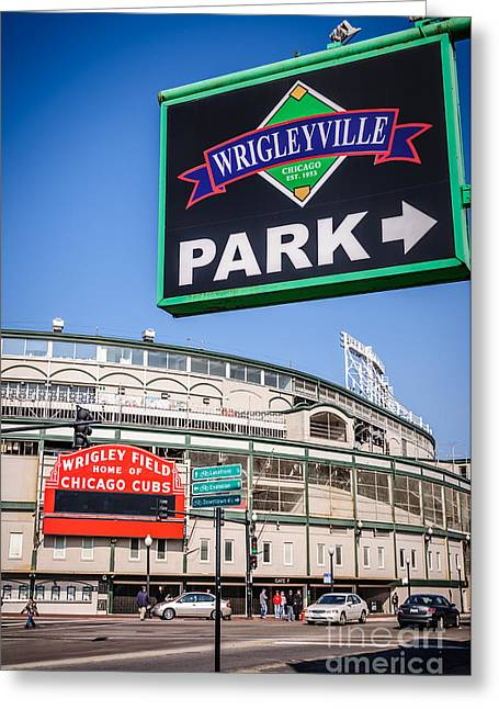 Chicago Cubs Stadium Greeting Cards - Wrigleyville Sign and Wrigley Field Greeting Card by Paul Velgos