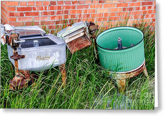 Sue Smith Greeting Cards - Wringer Washer and Laundry Tub Greeting Card by Sue Smith