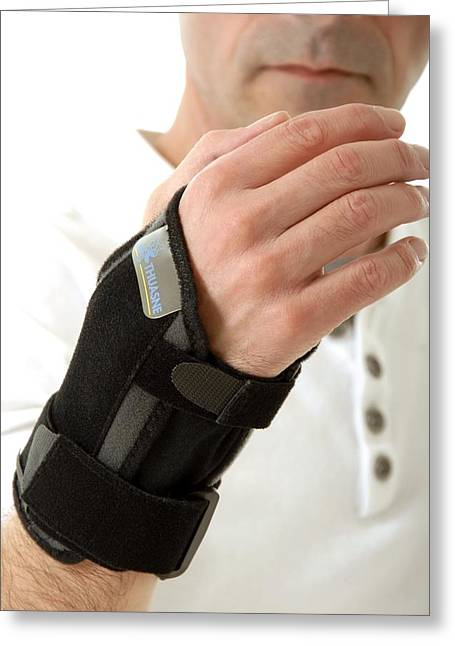 Straps Greeting Cards - Wrist brace Greeting Card by Science Photo Library