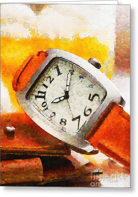 Straps Paintings Greeting Cards - Wristwatch and wallet painting Greeting Card by Magomed Magomedagaev