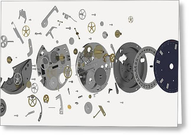 Large Clocks Greeting Cards - Wristwatch, Exploded-view Diagram Greeting Card by Nikid Design Ltd / Dorling Kindersley