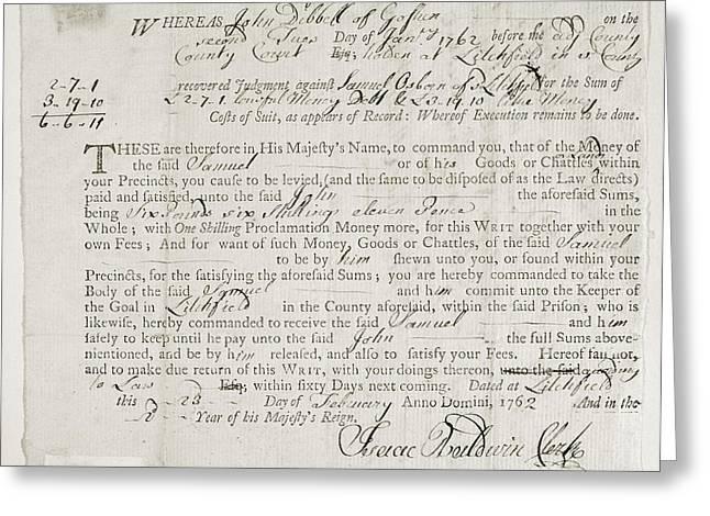 Writ Of Debt, 1762 Greeting Card by Granger