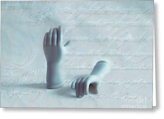 Hand Script Greeting Cards - Write Hands Greeting Card by Sonja Quintero