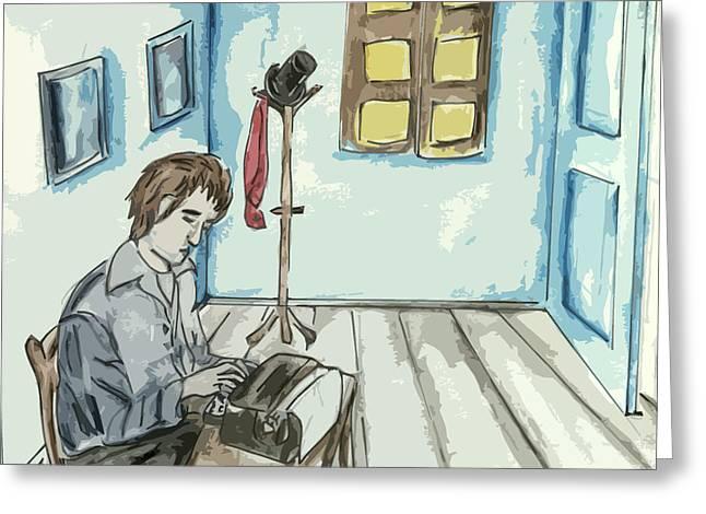 Typewriter Paintings Greeting Cards - Writer Greeting Card by Amelia Mickelsen