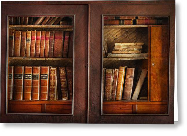 Smart Greeting Cards - Writer - Books - The book cabinet  Greeting Card by Mike Savad