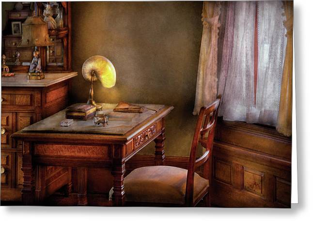 Writer - Desk of an Inventor Greeting Card by Mike Savad