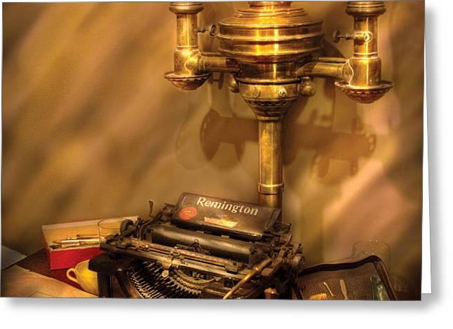 Writer - Remington Typewriter Greeting Card by Mike Savad