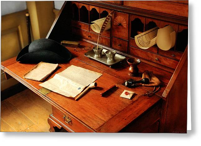 Woodworking Art Greeting Cards - Writer - The desk of a gentleman  Greeting Card by Mike Savad